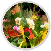 Bed Of Orchids Round Beach Towel