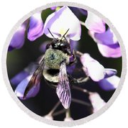 Bee And Blooms - Card Round Beach Towel
