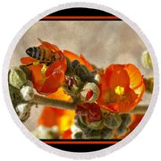 Bee On Red Flower 4 Round Beach Towel