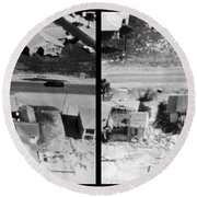 Before And After Hurricane Eloise 1975 Round Beach Towel by Science Source