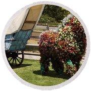 Begonia Horse Round Beach Towel