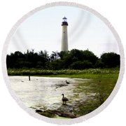 Behind The Cape May Lighthouse Round Beach Towel by Bill Cannon