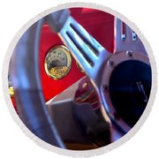 Behind The Wheel Of A 1940 Ford Round Beach Towel