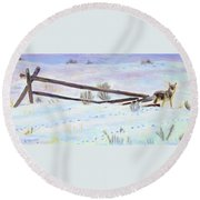 Being The Fence Round Beach Towel