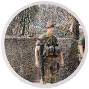 Belgian Soldier On Guard Round Beach Towel