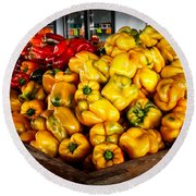 Bell Peppers Round Beach Towel by Robert Bales