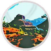 Bell Rock Sedona Arizona Round Beach Towel