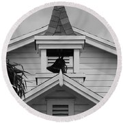 Bell Tower In Black And White Round Beach Towel