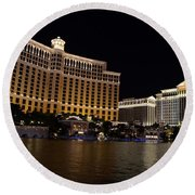 Bellagio And Ceasars Round Beach Towel