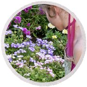 Belle In The Garden Round Beach Towel by Angelina Vick