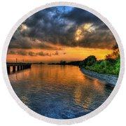 Sunset At Belle Isle Pier Detroit Mi Round Beach Towel