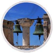 Bells Of Santorini Greece Round Beach Towel