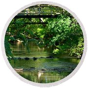 Below The Bridge Is Another World Round Beach Towel