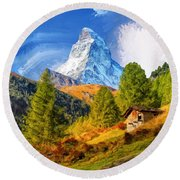 Below The Matterhorn Round Beach Towel