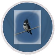Belted Kingfisher 2 Round Beach Towel