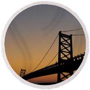 Ben Franklin Bridge Sunrise Round Beach Towel