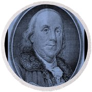Ben Franklin In Cyan Round Beach Towel