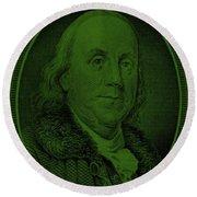 Ben Franklin In Dark Green Round Beach Towel