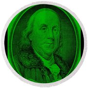 Ben Franklin In Green Round Beach Towel