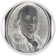 Ben Franklin In Negative Round Beach Towel