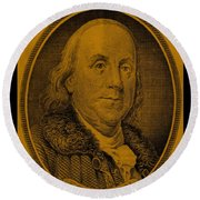 Ben Franklin In Orange Round Beach Towel