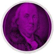 Ben Franklin In Purple Round Beach Towel