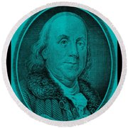 Ben Franklin In Turquois Round Beach Towel