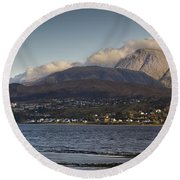 Ben Nevis And Loch Linnhe Panorama Round Beach Towel