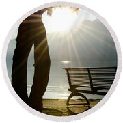 Bench And A Tree Round Beach Towel