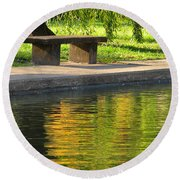 Bench And Reflections In Tower Grove Park Round Beach Towel