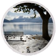 Bench And Tree On The Lakefront Round Beach Towel