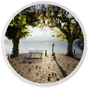 Bench And Trees On The Lake Front Round Beach Towel