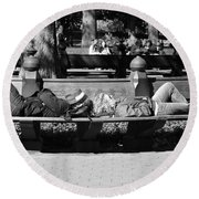 Bench Bums In Black And White Round Beach Towel