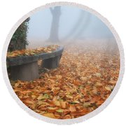 Bench In The Fog Round Beach Towel