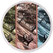 Bench In The Park Triptych  Round Beach Towel by Susanne Van Hulst