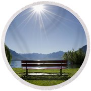 Bench On The Lakefront Round Beach Towel