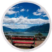 Bench With Panorama View Round Beach Towel