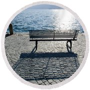 Bench With Shadow Round Beach Towel