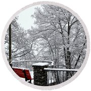 Bench With Snow Round Beach Towel
