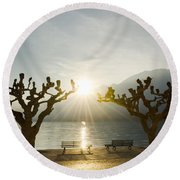 Benches And Trees On The Lakefront Round Beach Towel