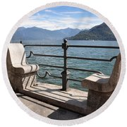 Benches On The Lake Front Round Beach Towel