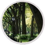 Benches Trees And Lamps Round Beach Towel
