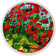 Beneath The Autumn Tree Round Beach Towel