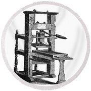 Benjamin Franklins Printing Press Round Beach Towel