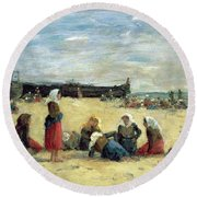 Berck - Fisherwomen On The Beach Round Beach Towel