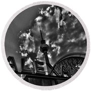 Berlin Alexanderplatz Round Beach Towel by Juergen Weiss
