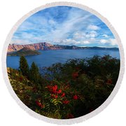 Berries On The Crater Round Beach Towel