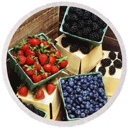 Berries Round Beach Towel by Photo Researchers