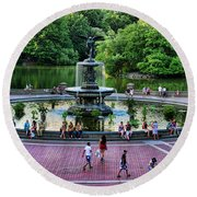 Bethesda Fountain Overlooking Central Park Pond Round Beach Towel by Paul Ward