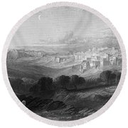 Bethlehem Engraving By William Miller Round Beach Towel